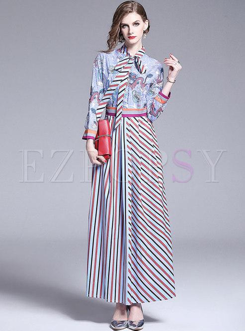 Multi Color Tied-collar Striped Splicing Maxi Dress