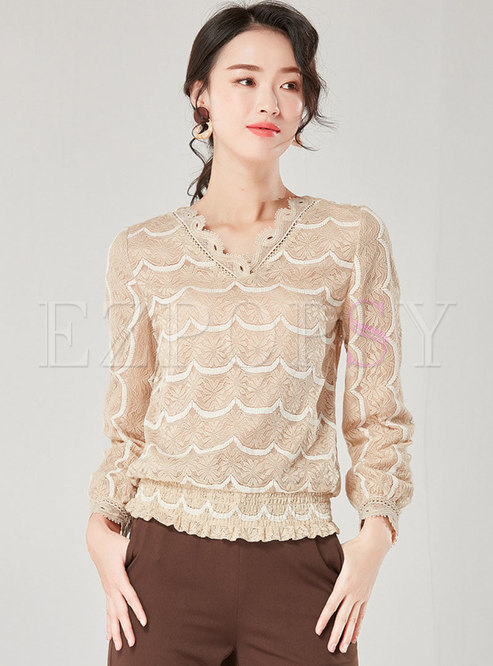 Lace Hollow Out V-neck Slim Pullover Top