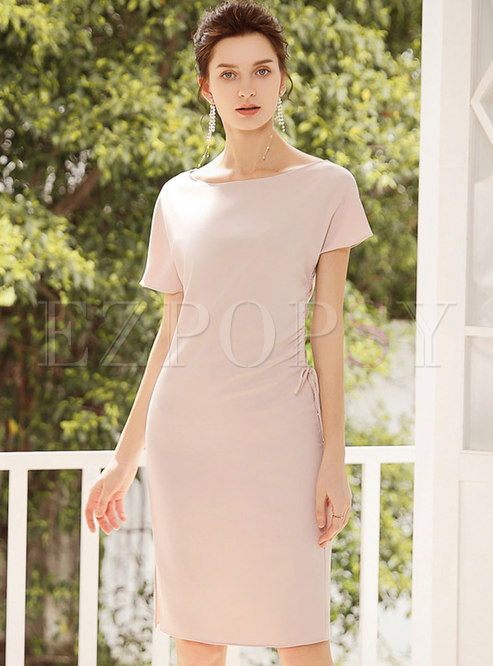 Solid Color O-neck High Waist Tied Sheath Dress