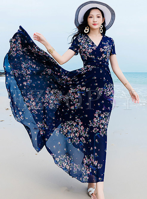 Chiffon Floral Print Big Hem Holiday Maxi Dress