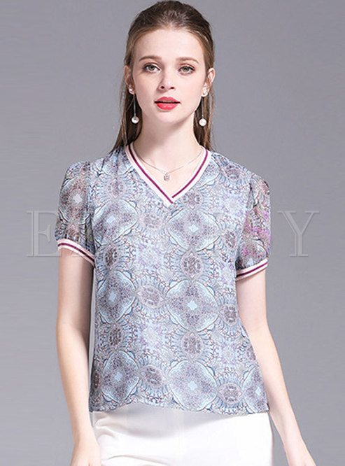 Retro Color-blocked Print Casual T-shirt