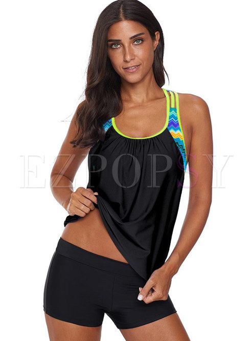 Color-blocked Splicing Tankini Swimwear