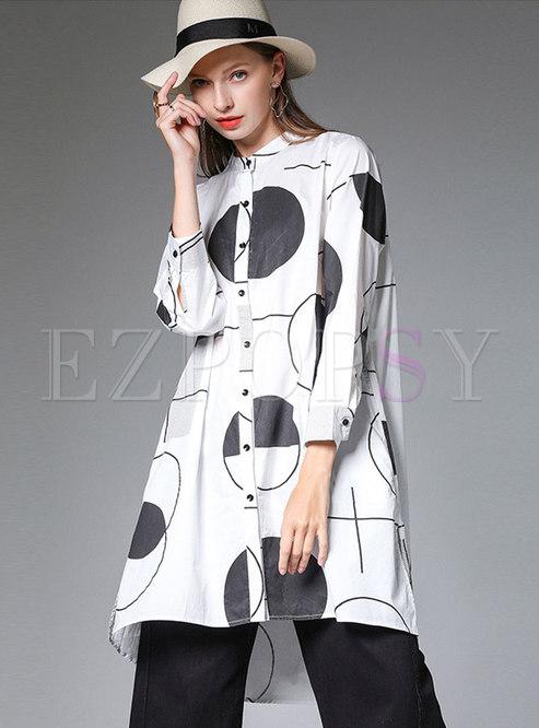 Stylish Print Lapel Long Sleeve Slim Blouse