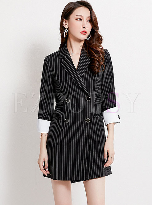 Striped Double Breasted Work Blazer