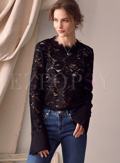 O-neck Lace See-though Loose T-shirt