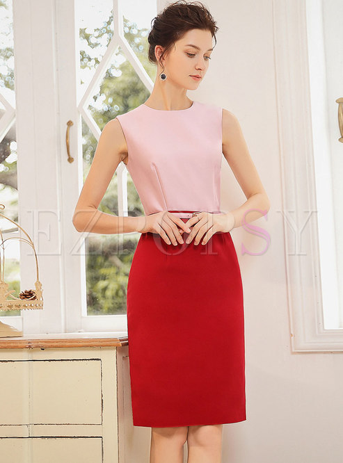 Color-blocked Splicing O-neck Sleeveless Bodycon Dress
