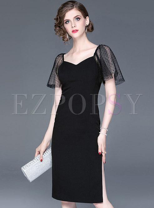 Sexy Backless Lace Splicing Mesh Split Sheath Dress