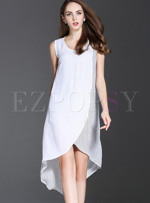Brief O-neck Striped Splicing Irregular Shift Dress