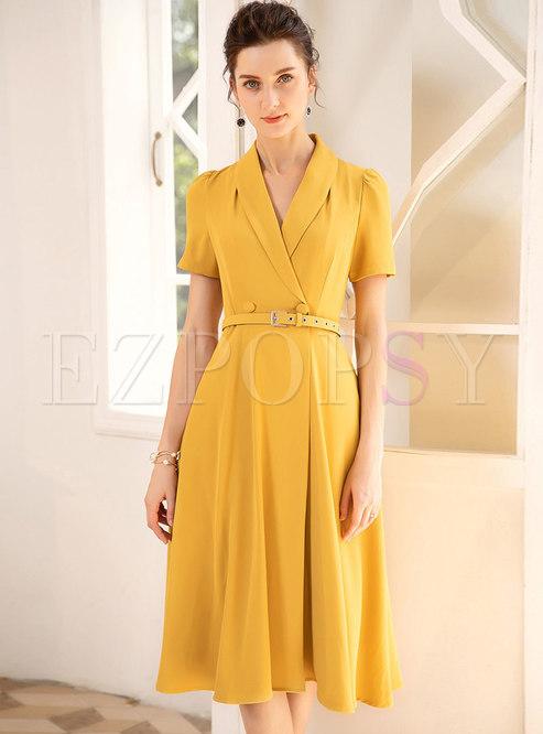 Stylish Lapel Yellow Gathered Waist Skater Dress