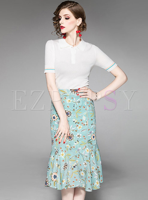 Brief Pure Color Lapel Knitted Top & Print Mermaid Skirt