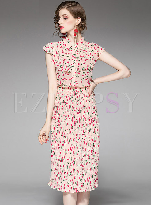 Elegant Ruffled Lapel Print Top & Pleated Sheath Skirt