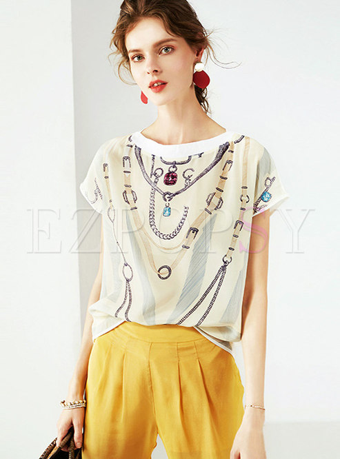 Stylish O-neck Print All-matched Silk T-shirt