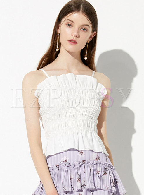 Sexy Pure Color Pleated Wavy Side Backless Cami