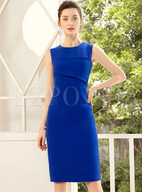 Elegant Pure Color Sleeveless High Waist Bodycon Dress