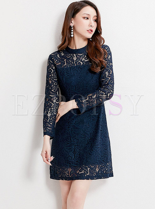 Lace Embroidered Hollow Out Perspective Sheath Dress