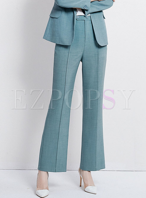 Solid Color High Waist All-matched Work Straight Pants