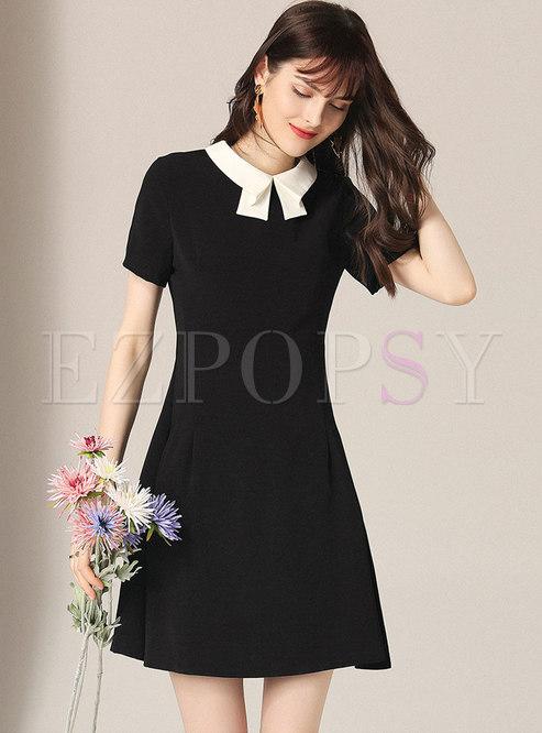 Summer Black Sweet Doll Collar Slim A Line Dress