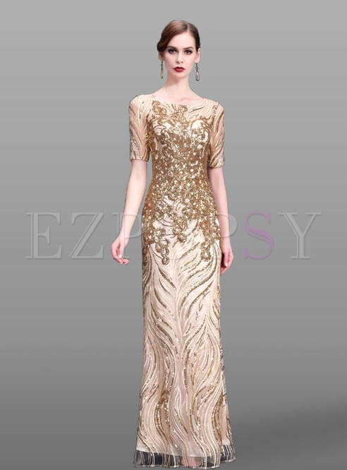 Skinny Embroidery Solid Color O-Neck Short Sleeves Sheath Dresses
