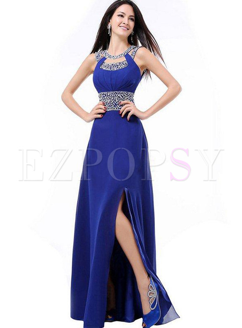 Designer Sequined Contrast O-Neck Backless Long Prom Dresses