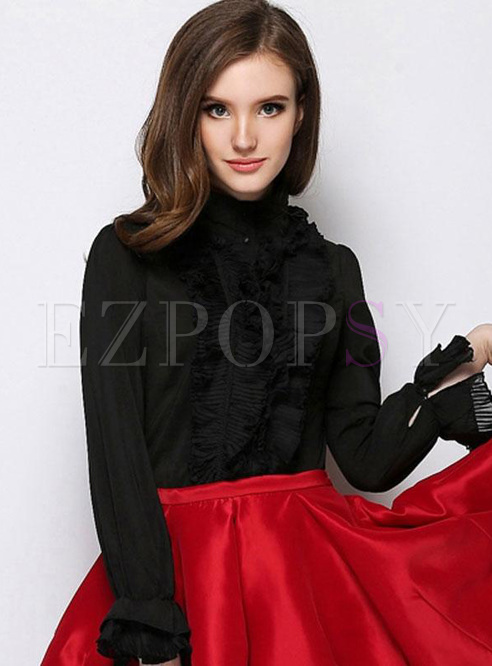Hollow Out Solid Color High Neck Long Sleeves Women's Blouses