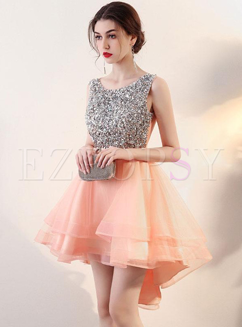 Sequins Contrast O-Neck Sleevesless Backless Mid Prom Dresses
