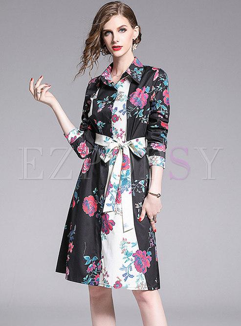 Stylish Color-blocked Lapel Tied T-shirt Dress
