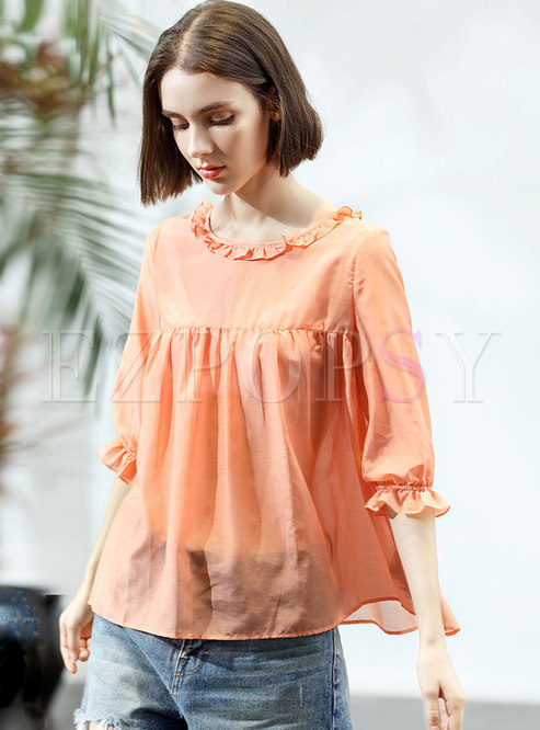 Solid Color O-neck Loose Pullover T-shirt