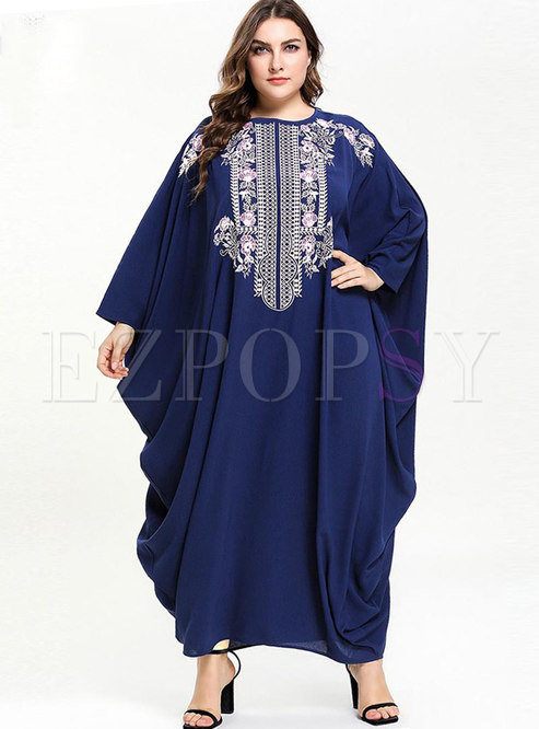 Casual O-neck Embroidered Bat Sleeve Maxi Dress
