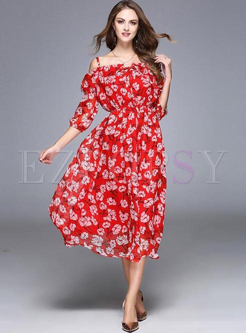 Printing Slash Neck Half Sleeves Midi Dresses