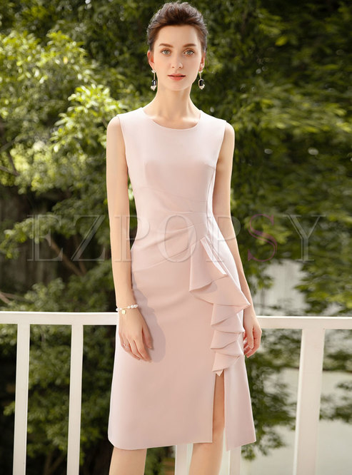 Elegant Pure Color Sleeveless Falbala Split Sheath Dress