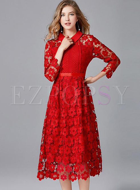 Embroidery Solid Color Turn-down Collar Seven-Tenths Sleeves Midi Dresses