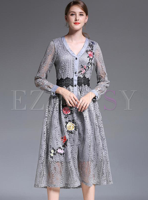 Embroidery Lace Solid Color V-Neck Long Sleeves Long Dresses