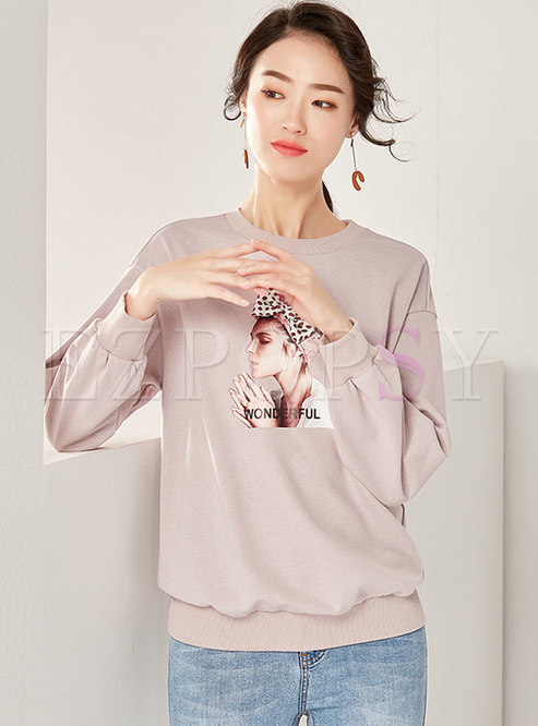 Casual Portrait Print Loose Pullover Sweatshirt