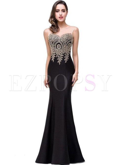 Embroidery Sequined Contrast O-Neck Sleevesless Evening Dresses