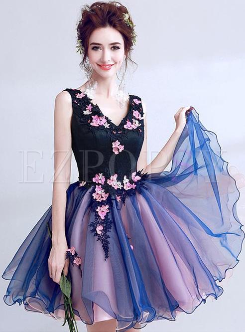Lace Color Block Deep V Neck Backless Midi Dresses