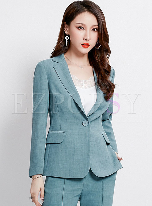 Solid Color Notched Work Long Sleeve Slim Blazer
