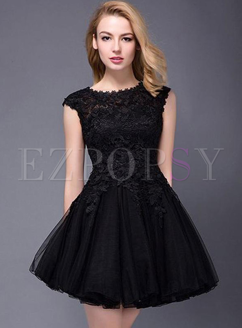 Lace Solid Color Sleeveless High Waist Mini Dresses