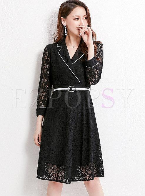 Stylish Lace Lapel High Waist A Line Dress