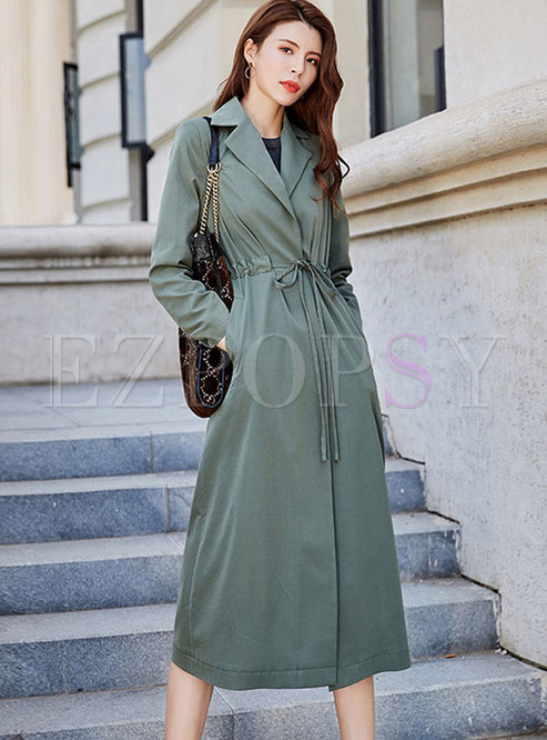 Tied Long Sleeve A Line Trench Coat