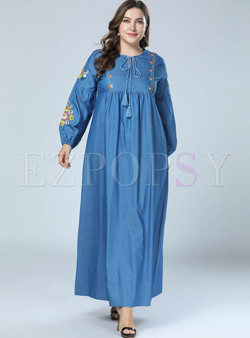 Casual Denim Embroidered Tied Loose Maxi Dress