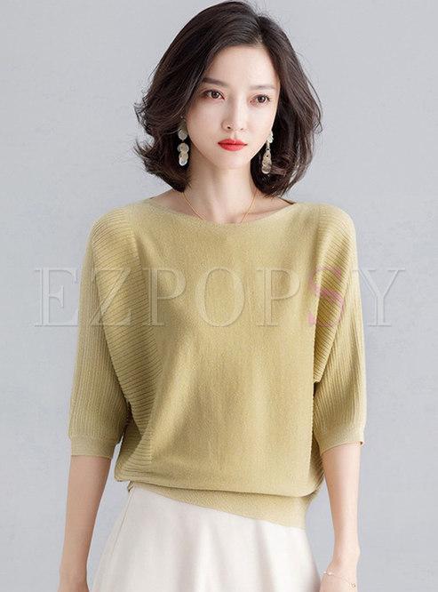 Brief Pure Color O-neck Loose Sweater