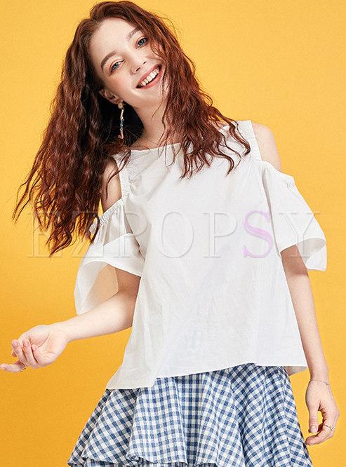 Brief White Off Shoulder Summer Cotton Blouse