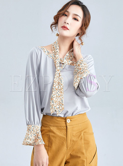 Casual Floral Splicing Ruffled Sleeve T-shirt