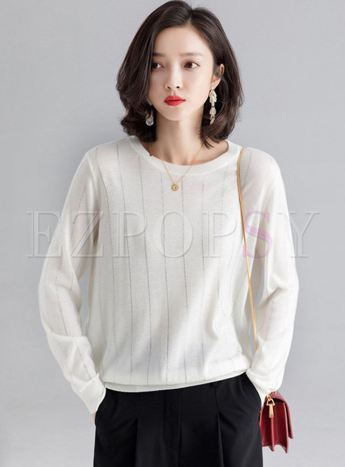 Chic O-neck Vertical Striped Pullover Sweater