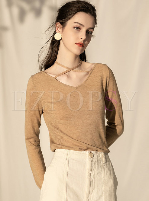 Sexy Cross V-neck Halter Long Sleeve Sweater