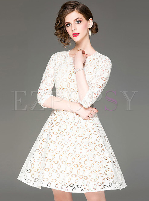 Stylish Embroidered Hollow Out Waist A Line Dress