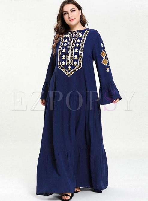 Casual Splicing Embroidered Fold Big Hem Maxi Dress