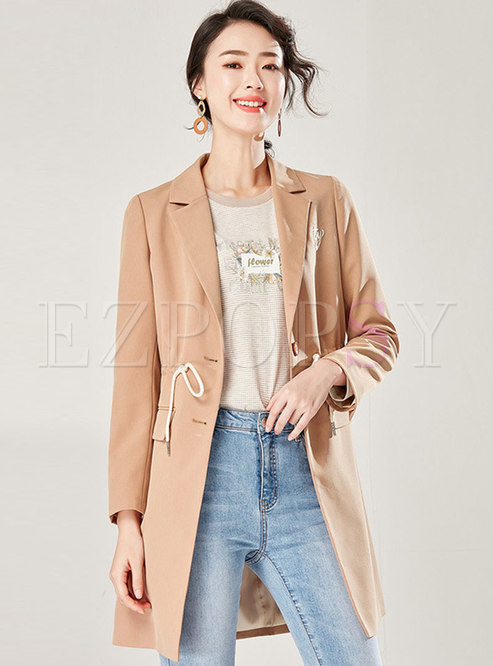 Casual Lapel Letter Embroidery Tied Blazer