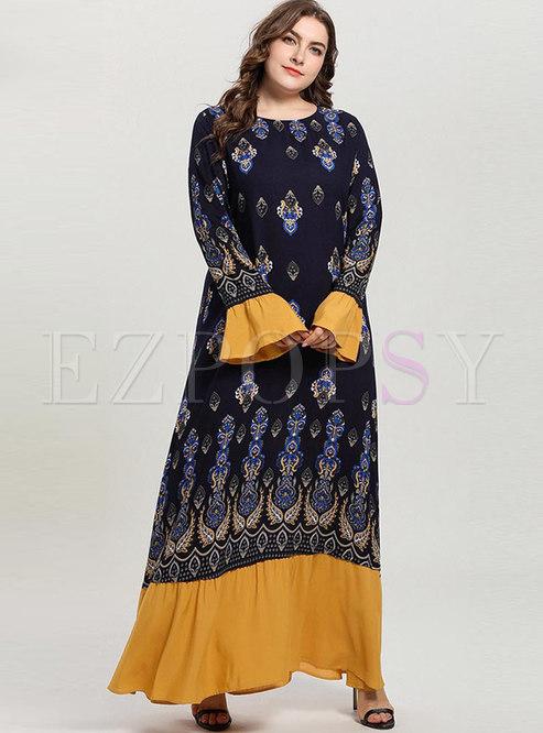 Plus Size Print Falbala Loose Maxi Dress