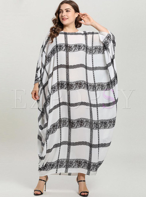 Casual Plaid Bat Sleeve Comfortable Maxi Dress